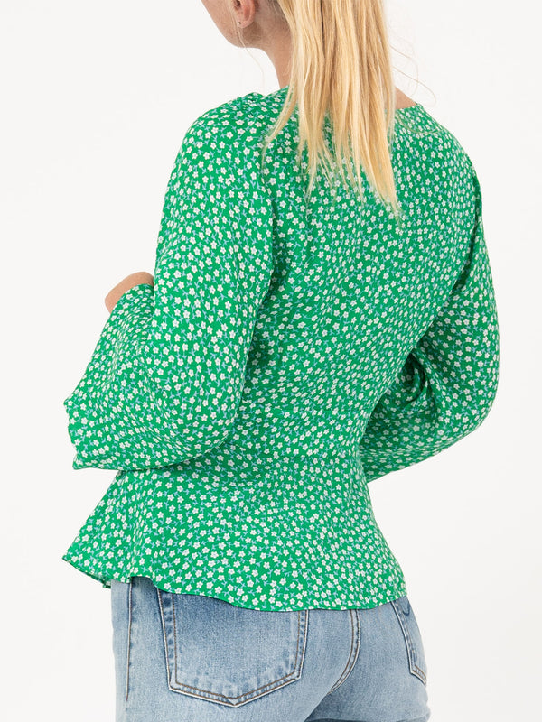 Kikki Top In Retro Micro Floral Green Blue