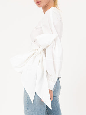 Cotton Poplin Wrap Shirt In White