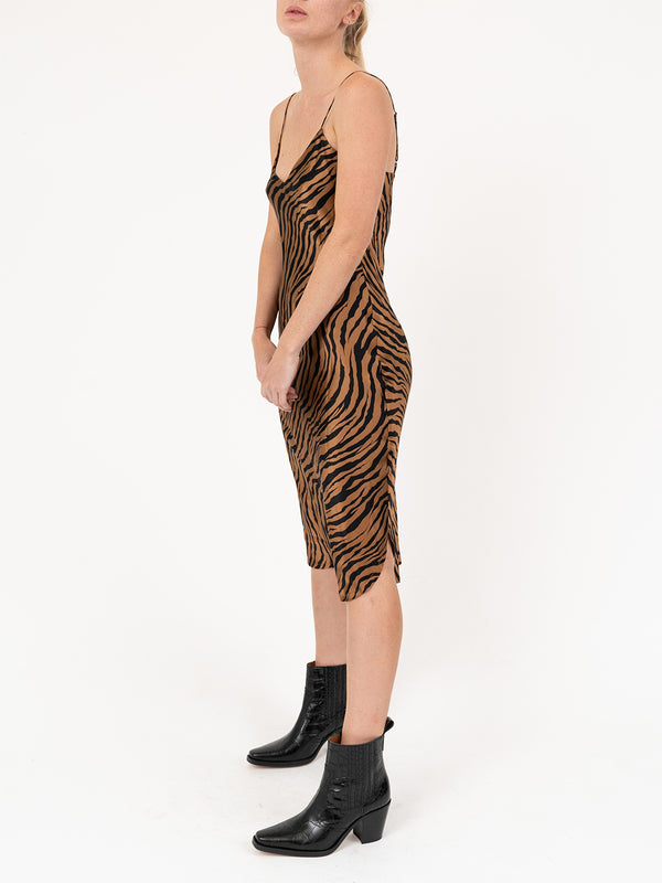 Short Cami Dress in Bronze Tiger Print