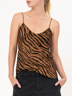 Isabella Cami Top in Bronze Tiger Print