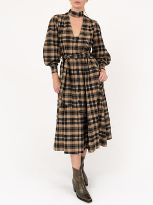 Seersucker Shirt Dress In Tigers Eye