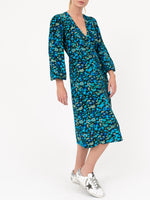 Silk Wrap Dress In Azure Blue