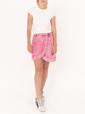 Ganni Denim Mini Skirt In Fuchsia Red