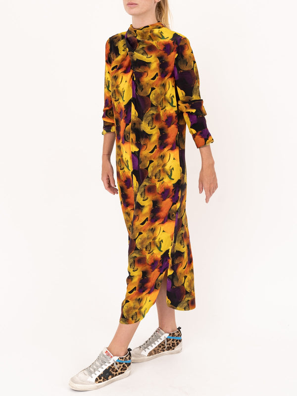 Ganni Print Midi Dress in Lemon