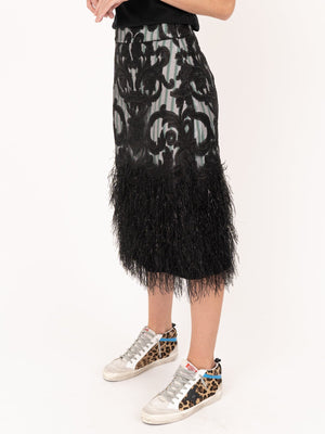 Ganni Feathery Cotton Skirt in Black