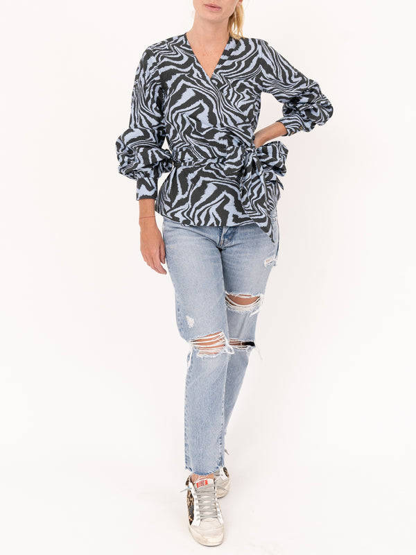 Cotton Wrap Blouse In Forever Blue
