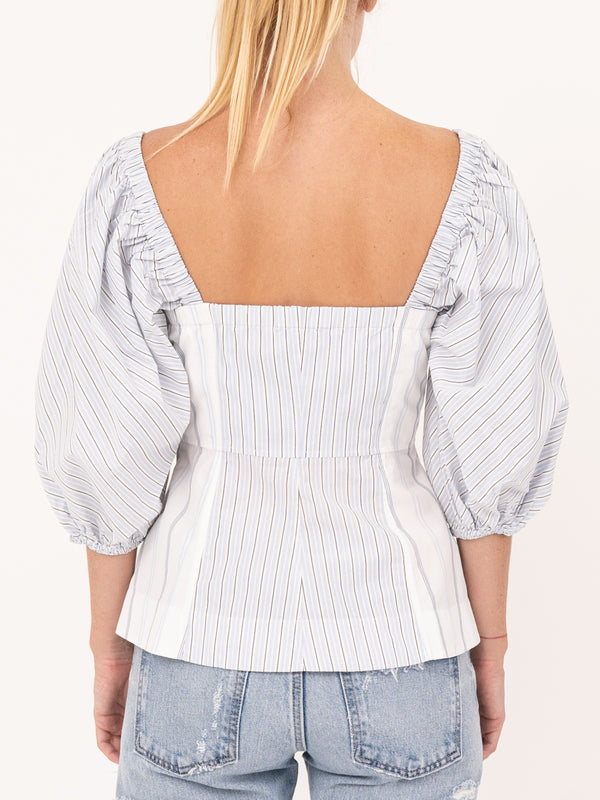 Cotton Puff Sleeve Top In Stripe