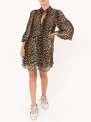 Ganni Leopard Georgette Mini Dress