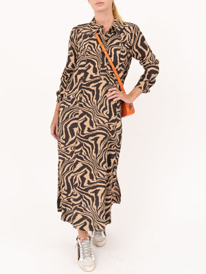 Ganni Printed Crepe Shirt Dress In Tannin