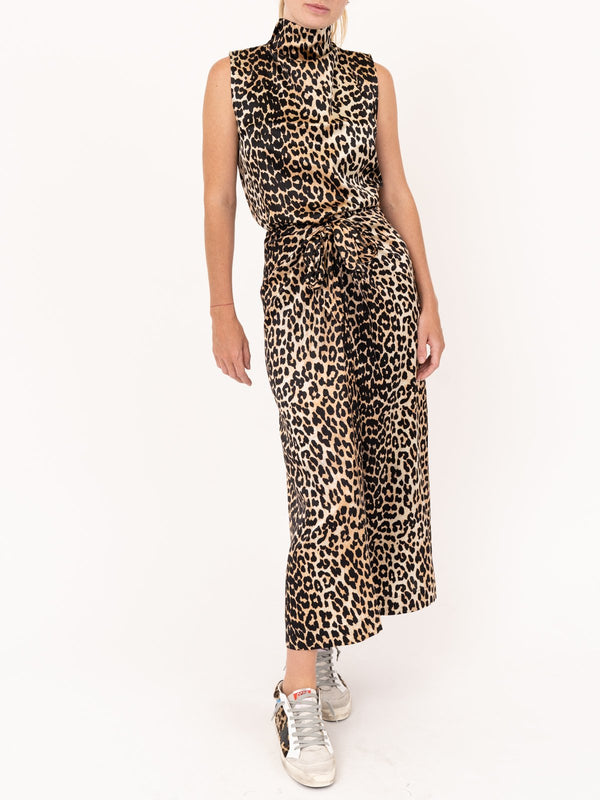 Ganni Silk Stretch Satin Skirt in Leopard