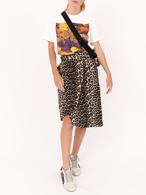 Ganni Leopard Denin Skirt