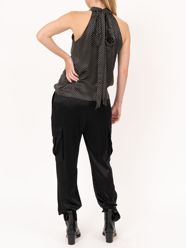 Ceyda Top in Black/Ivory Dots