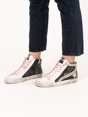 Golden Goose Sneakers Slide In Black Yellow Silver Glitter-Ice
