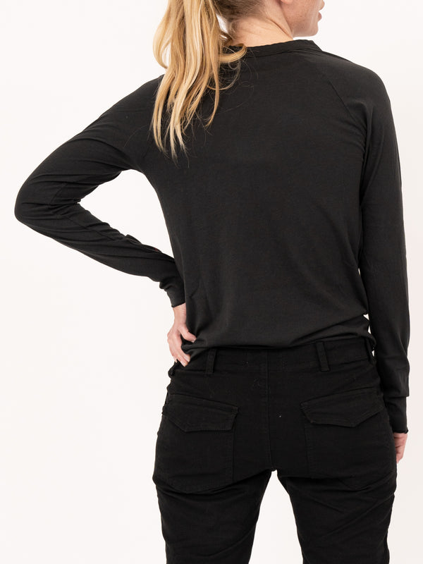 Long Sleeve Baseball Tee in Black