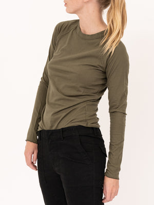 Long Sleeve Baseball Tee in Army