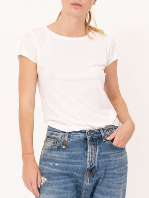 Nili Lotan Short Sleeve Baseball Tee in White