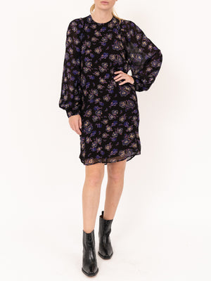 Printed Georgette Dress In Black