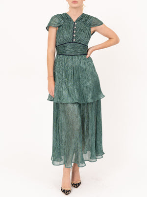 Metallic Jersey Tiered Dress in Sea