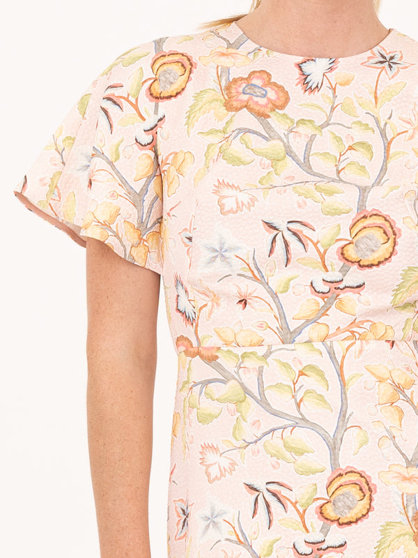Printed Waffle T-dress In Flower Canopy Blush