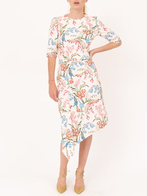 Printed Cady Drape Dress in Flower Field Powder White