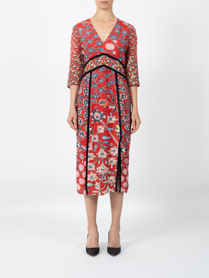 PRINTED FIL COUPE V-DRESS IN RED