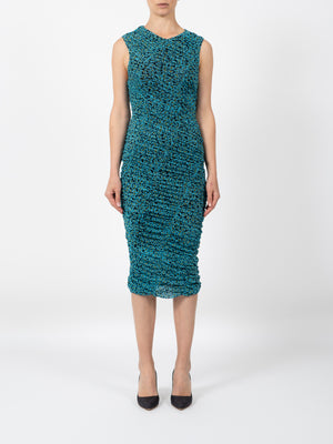 RUCHED MESH DRESS IN HORIZON