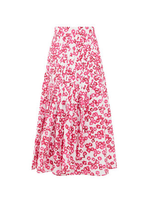 Floral Print Skirt in White/Fucsia