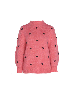 Ariana Sweater in Pink Black Heart