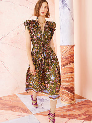 Ulla Johnson Arina Dress in Pine Floral