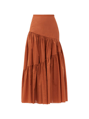 Assymetric Tiered Skirt in Toffee