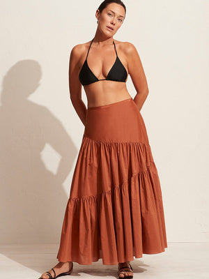 Matteau Assymetric Tiered Skirt in Toffee