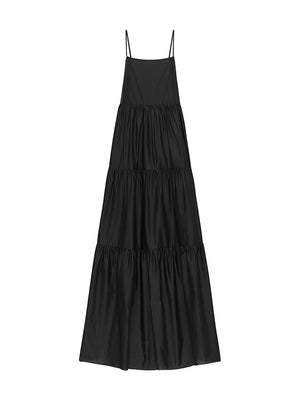 Assymetric Tiered Sundress in Black