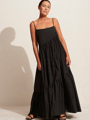 Matteau Assymetric Tiered Sundress in Black