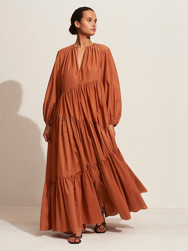 Matteau Assymetric Long Sleeve Tiered Dress in Toffee