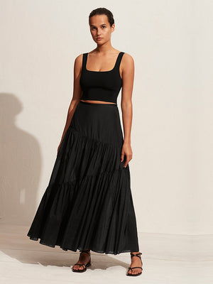 Asymmetric Tiered Skirt In Black