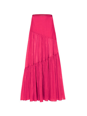 Asymmetric Tiered Skirt In Fuschia