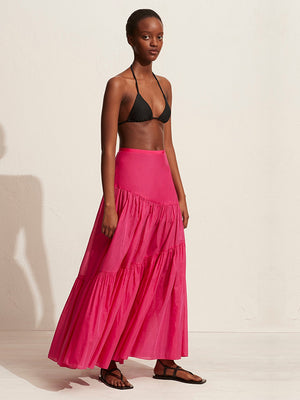 Matteau Assymetric Tiered Skirt In Fuschia
