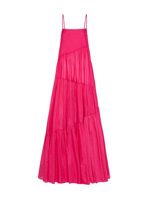 Asymmetric Tiered Sundress in Fuchsia