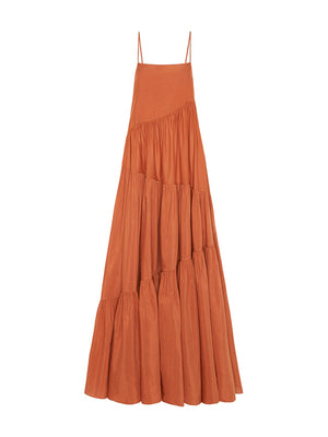 Asymmetric Tiered Sundress in Toffe