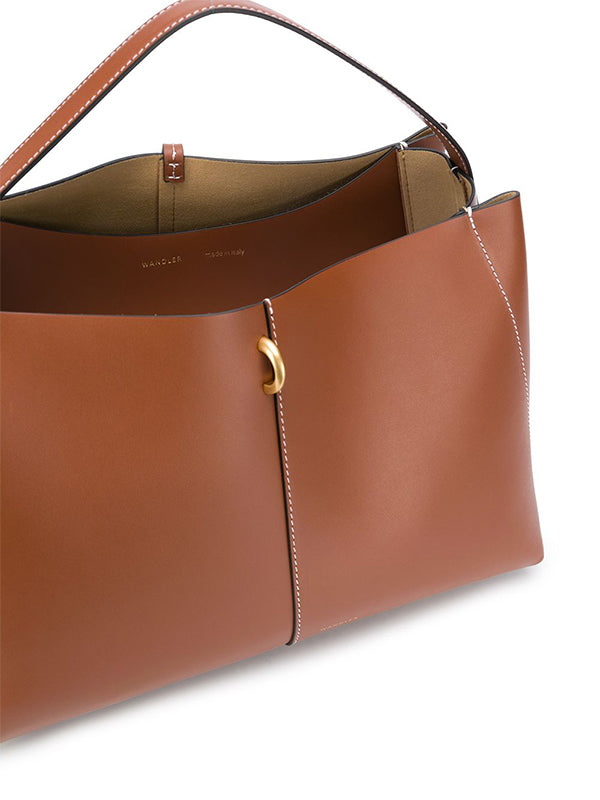 Wandler Ava Medium Tote in Tan/White Stitch