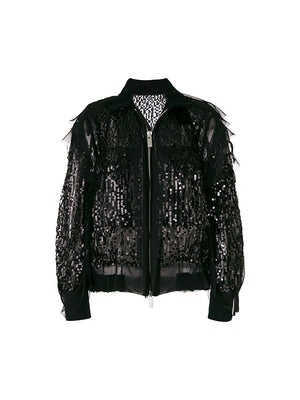 BLACK SEQUIN EMBROIDED JACKET