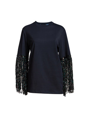 BLACK STAR SEQUIN TEE IN COSMIC GARDEN