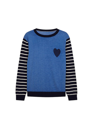 BRETON SLEEVE SWEATER IN NAVY