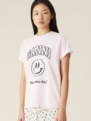 Ganni Basic Cotton Smiley T-shirt in Cherry Blossom