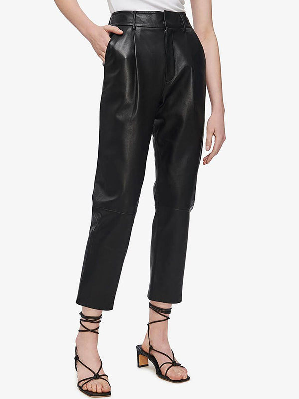 Anine Bing Becky Leather Trouser in Black