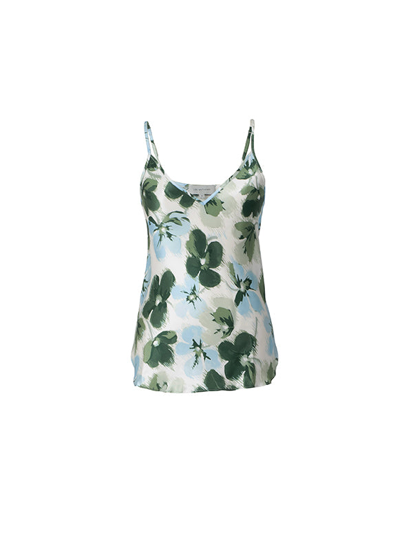 Bella Satin V Neck Cami in Clover
