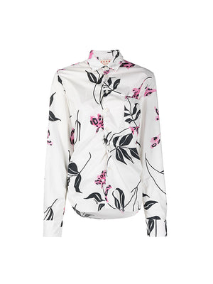 L/S Floral Print Shirt in White