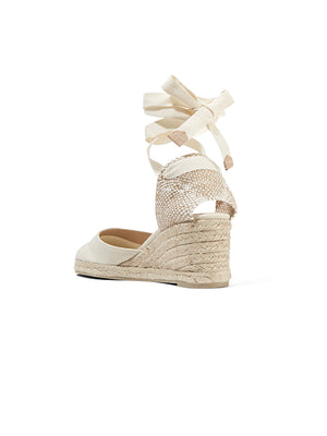 Carina 60 canvas wedge espadrilles In Ivory