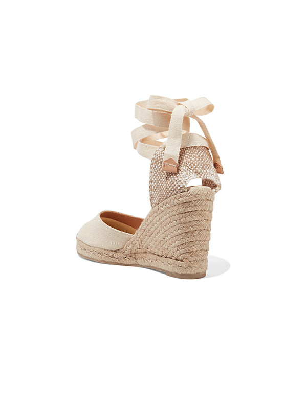 Carina 80 canvas wedge espadrilles in Ivory