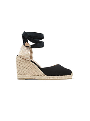 Carina 80 canvas wedge espadrilles in Negro